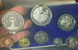1974 1st National Coinage Barbados Proof Set $10 & $5 Sterling Silver .99c START