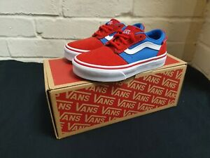 Vans Chapman Stripe Trainers Sneakers Pump Boys Kids Red & Blue UK10 EU28