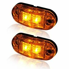 """2x Amber LED 2.5"""" 2 Diode Light Oval Clearance Trailer Truck Side Marker Lamp"""