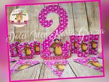 """Kit Compleanno Personalizzato Festa Party """"MASHA E ORSO"""" nome ed età"""