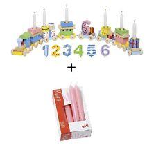 Goki Geburtstagszug Geburtstagsdeko + Buntezahlen von 1-6 aus Holz + 10 Kerzen