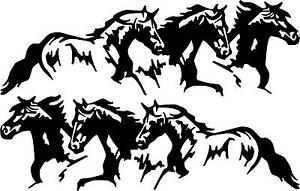 3 RUNNING HORSES  pony colt cowboy  LEFT and  RIGHT  VINYL DECAL STICKER 3010