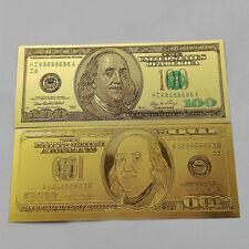 Golden 10pcs 1:1 $100 dollar 24k Gold Foil USD Paper Money Banknotes Crafts NI