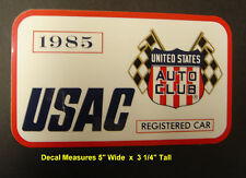 1985 Indianapolis Motor Speedway USAC Registered Decal / Vintage Racing Indy 500