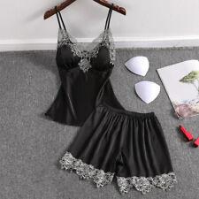 Ladies Womens Satin Magic Black Lace Vest Top and Shorts Pyjamas Set ladpj301