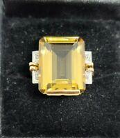 Vintage Citrine & Diamond Emerald Cut 18K Yellow Gold Ring Size 7.5 MSRP $2,000