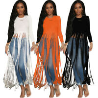 Women Crew Neck Long Sleeves Tassels Solid Casual Cocktail Clubwear T-Shirt Tops