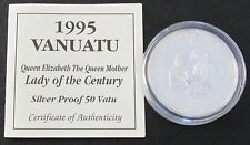 1995 VANUATU SILVER PROOF 50 VATU COIN + COA / LADY OF THE CENTURY