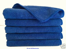 "5 (Five) ROYAL BLUE MICROFIBER CLEANING WASH CLOTH TOWEL 16""x16"" 40x40cm 300GSM"