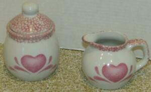 Guyroc White Pottery w/Pink Heart Sugar Bowl & Creamer