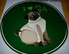 I LOVE MY PUG STICKER INDOOR OR OUTDOOR USE BRAND NEW  ON SALE