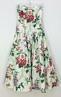 VTG 80s S.G.Gilbert White Floral Strapless Bow Dress Womens Sz 6 Made in USA