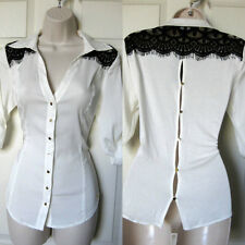 BEBE IVORY LACE BACK BUTTON FIORELLA SHIRT BLOUSE TOP NEW NWT MEDIUM M