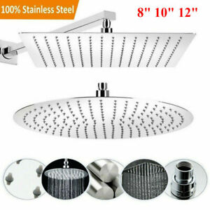 6/8/10/12inch Round/Square Shower Head Chrome Stainless Steel Rainfall Overhead