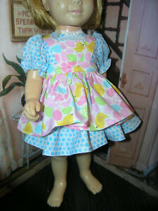 "3 Pc Set Dress Easter Print Apron 19-20"" Doll clothes fits Mattel Chatty Cathy"