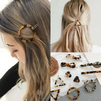 Women Amber Leopard Geometric Heart Round Triangle Pinchcock Hair Accessories 01