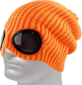 Goggle Lens Beanie Winter Hat Cuff Knit Ski Skull Cap Outdoor Sports