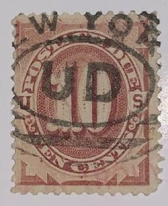 Travelstamps:1884-1889 US Scott# J19, Used, NG , Postage Due , 10 cent