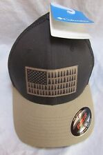 Columbia Mesh Ballcap Tree Flag Hat Flexfit Dark Mountain Tan/Black Unisex S/M