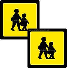 2 x school children crossing Printed Vinyle Sticker 150 mm SQ Car Taxi Mini-bus