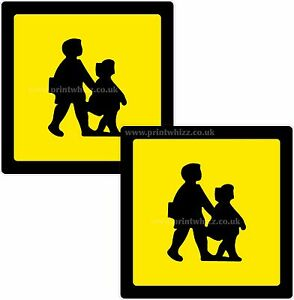 2 x School Children Crossing Printed Vinyl Sticker 100mm sq Car Taxi Mini-Bus