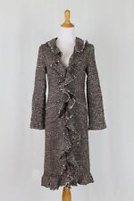 Calypso Christiane Celle Brown & Cream Wool Tweed Ruffle Front Duster Coat XS
