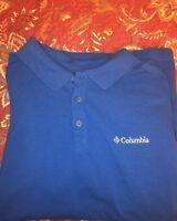 COLUMBIA PFG Mens M Med Blue Short Sleeve Omni-Shade Polo Fishing Shirt
