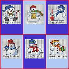 Set of 6 Christmas Cards of Snowmen - Cross stitch kit - Includes 6 cards