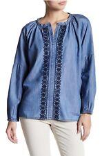 Jag Jeans Women size L Light Indigo Casper Embroidered Chambray Blouse NWT