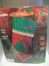"BUCILLA FELT APPLIQUE BEAD CHRISTMAS STOCKING KIT ""FESTIVE TREE"" 18"" SEALED USA"