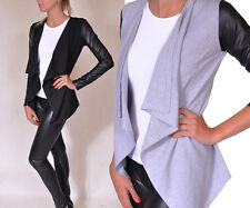 Damen Trendy Cardigan Pullover Strickjacke mit Lederärmel Sexy Kap S M L XL 165