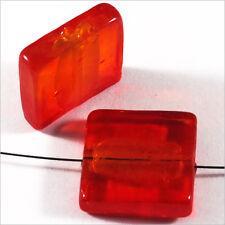 Lot de 4 perles en verre Feuille d'Argent Carrées 20mm Rouge