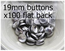 19mm self cover metal BUTTONS FLAT backs (sz 30) 100 QTY + FREE instructions