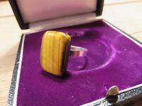 Jugendstil Art Deco Modern 925 Sterling Silber Ring Designer Tiegerauge Bauhaus