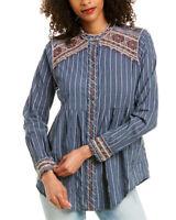 Johnny Was Molly Jo Mandarin Collar Smock Shirt Women's