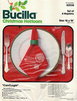 NEW Vintage Bucilla Cross Stitch Christmas Heirloom Candlelight Napkin Kit 82038