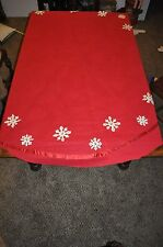 "86"" vintage round Red cloth netting rhinestone snowflakes Christmas Table Cloth"