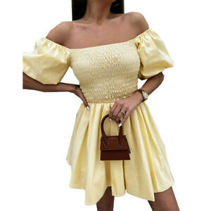 Womens Elegant Puff Sleeve Mini Dress Sexy Off Shoulder Solid Party Dress Summer