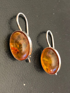 Sterling Silver Amber Hook Earrings 925