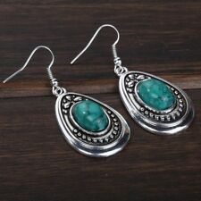 Vintage Style Tibetan Silver Plated GREEN TURQUOISE Water-Drop Earrings Jewelry