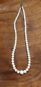 Alte Korallen Kette Weiß Rosa Perlen Vintage Schmuck Edelstein