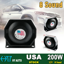 200W 8 Sound Loud Speaker PA Horn Siren System Mic Kit Police Car Fire Truck 12V