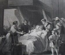 Death of Leonardo da Vinci  (1519). ...Antique engraving...1842