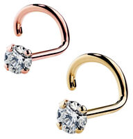 20G 2mm Rose Gold/Gold Surgical Steel Prong Set CZ Nose Stud Screw Ring Fishtail