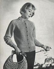 Vintage Knitting Pattern 1950s Raglan Sleeve Jacket/Cardigan. 32-38 Inch Bust.
