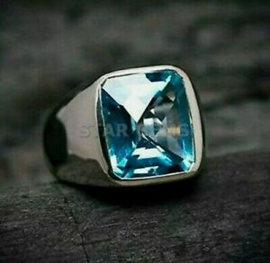Natural Swiss Blue Topaz Cushion Cut Gemstone 925 Sterling Silver Ring For Men's
