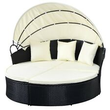 Black Outdoor Patio Sofa Furniture Round Retractable Canopy Daybed Wicker Rattan
