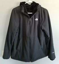 Woman's Large The North Face NF Black Hooded Windwall Jacket Fleece lined Black