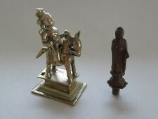 INDIAN BRONZE HORSE & RIDER 18TH CENTURY & OLD CHINESE BUDDHA FINIAL NO RESERVE