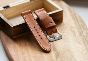 Handmade distressed tan leather strap for Panerai with GPF buckle 27,26, 24,22mm